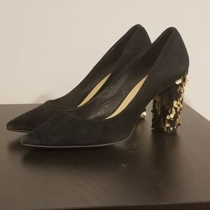 Shoes - Wittner Black Suede with gold accents